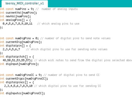 Teensy MIDI controller code